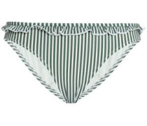 Ruffle-trimmed Striped Seersucker Low-rise Bikini Briefs Leaf Green
