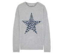 Leopard-jacquard Cashmere Sweater Light Gray