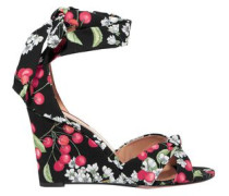Woman All Tied Up Printed Canvas Wedge Sandals Black