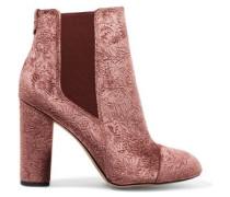 Case embossed velvet ankle boots
