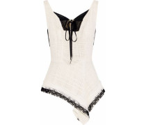 Cottingham Gauze-trimmed Cotton-tweed Peplum Top Off-white