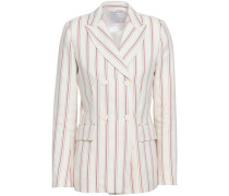 Double-breasted Striped Twill Blazer Ivory
