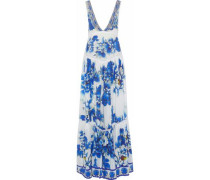 Ring Of Roses Embellished Floral-print Silk Maxi Dress Blue