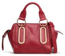 Embellished Glossed-leather Shoulder Bag Crimson Size --