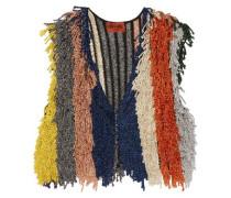 Cropped fringed metallic stretch-knit vest