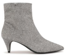 Blaine Crystal-embellished Metallic Mesh Ankle Boots Silver