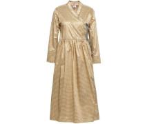Hermione Metallic Gingham Poplin Wrap Dress Gold