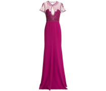Embellished tulle-paneled crepe gown