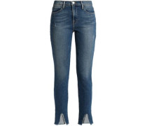 Frayed Distressed Mid-rise Skinny Jeans Mid Denim  4