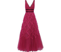 Lace-appliquéd Ruffled Tulle Gown Magenta