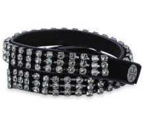 Silver-tone, Crystal, Leather And Velvet Bracelet Black Size --