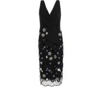 Floral-appliquéd Crepe And Lace Dress Navy