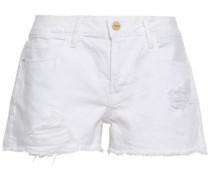 Le Grand Garcon Distressed Denim Shorts White  5