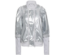 Shirred Metallic Shell And Jersey Jacket Silver