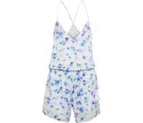The Chandler Floral-print Silk-charmeuse Playsuit White