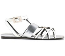 Embellished Two-tone Leather Sandals Silver