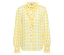 Woman Ruffled Gingham Jacquard Shirt Yellow