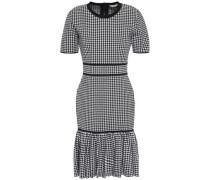 Fluted Gingham Woven Mini Dress Black