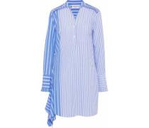 Asymmetric striped cotton-poplin mini shirt dress