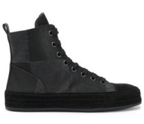 Woman Faux Suede-trimmed Paneled Twill High-top Sneakers Black