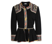 Embroidered Cotton-twill Peplum Jacket Black