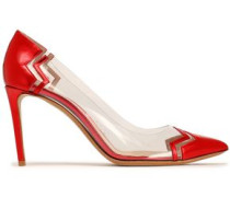 Metallic Leather And Pvc Pumps Tomato Red