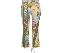 Cropped Cotton-blend Brocade Bootcut Pants Ecru