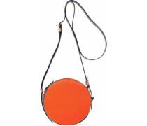 Leather-trimmed Calf Hair Shoulder Bag Orange Size --