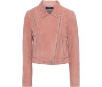 Cerinthe Cropped Suede Biker Jacket Antique Rose Size 16