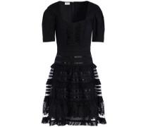 Tiered cotton-poplin and mesh dress