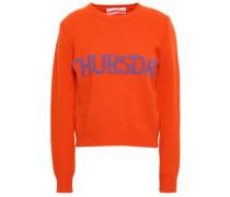 Intarsia Wool And Cashmere-blend Sweater Bright Orange