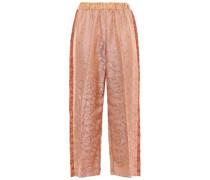 Cropped Jacquard Wide-leg Pants Baby Pink