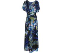 Wrap-effect printed silk-chiffon midi dress