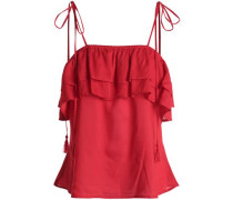Bowly Tiered Woven Top Crimson