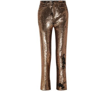 Woman Sequined Crepe Straight-leg Pants Gold