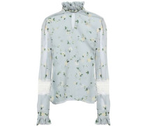 Lace And Ruffle-trimmed Floral-print Chiffon Blouse Sky Blue