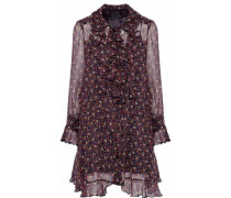Ruffled floral-print silk-georgette mini shirtdress