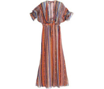 Saya Gathered Striped Silk-chiffon Maxi Dress Orange