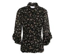 Ruffle-trimmed Floral-print Georgette Blouse Black