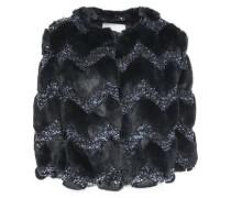 Faux Fur And Metallic Tweed Jacket Storm Blue