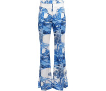 Printed Silk-blend Satin Flared Pants White
