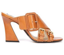 Woman Buckled Leather Mules Tan