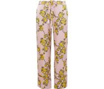 Niral Floral-print Hammered Silk-jacquard Wide-leg Pants Pastel Pink
