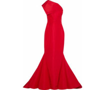 One-shoulder layered silk taffeta gown