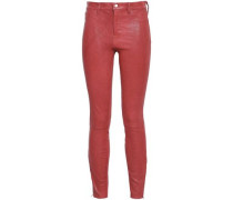 Stretch-leather Skinny Pants Brick  4