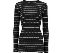 Ribbed-knit cotton and cashmere-blend top