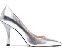 Metallic Textured-leather Pumps Silver