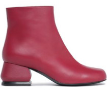 Woman Leather Ankle Boots Plum