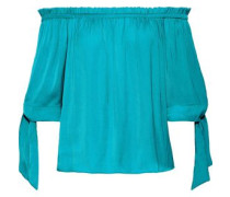 Off-the-shoulder Satin Top Turquoise