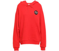 Woman Aurelia Appliquéd French Cotton-terry Hoodie Red